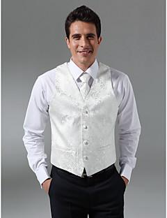Custom Made Single Breasted Four-button Collarless Regular Length Groom Vest