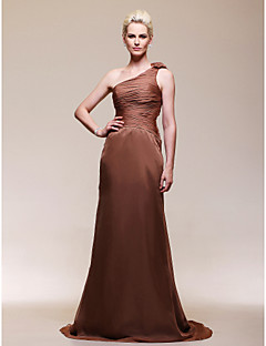 A-line One Shoulder Sweep/ Brush Train Chiffon Evening Dress