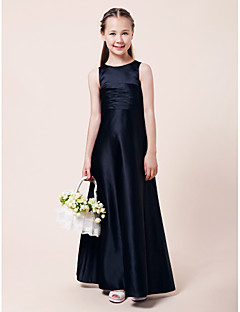 Lanting Bride® Floor-length Satin Junior Bridesmaid Dress A-line / Princess Jewel Natural with Draping / Ruching