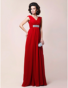 A-line Plus Sizes Mother of the Bride Dress - Ruby Floor-length Sleeveless Chiffon