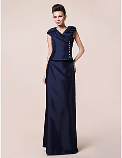 Sheath / Column Plus Size / Petite Mother of the Bride Dress Floor-length Short Sleeve Taffeta with Buttons / Draping