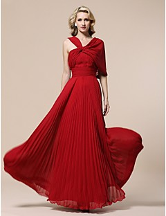 Prom / Formal Evening / Military Ball Dress - Plus Size / Petite Sheath/Column V-neck Floor-length Chiffon
