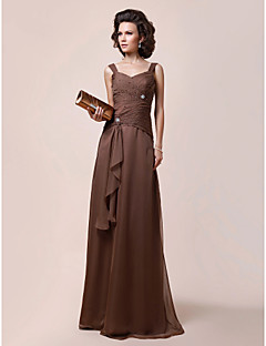 Lanting A-line Plus Sizes / Petite Mother of the Bride Dress - Brown Floor-length Sleeveless Chiffon