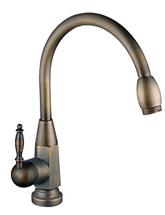 Traditional Tall/­High Arc Deck Mounted Rotatable with  Ceramic Valve Single Handle One Hole for  Antique Brass , Kitchen faucet