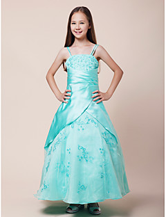 Floor-length Organza / Satin Junior Bridesmaid Dress Ball Gown Spaghetti Straps Natural with Beading / Embroidery / Side Draping