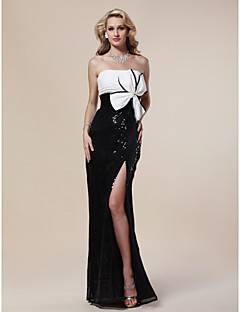 Formal Evening / Military Ball Dress - Plus Size / Petite Sheath/Column Strapless Floor-length Sequined
