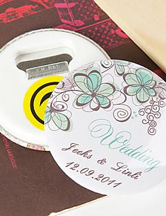 gepersonaliseerde flesopener / koelkast magneet - groene bloem (set van 12)