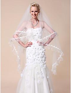 en-tier vals bryllup slør med kniplinger applikere kant
