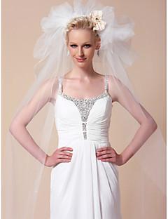 Свадебные вуали Два слоя Соборная фата Обрезанная кромка 102,36 в (260cm) Тюль Белый Белый / Цвет слоновой костиПлатье-трапеция, бальное