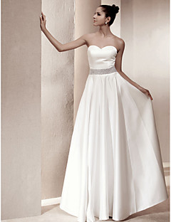 A-Line Sweetheart Floor Length Satin Wedding Dress with Beading by LAN TING BRIDE®