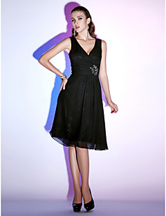 TS Couture Cocktail Party / Holiday Dress - Black Plus Sizes / Petite A-line / Princess V-neck Knee-length Chiffon