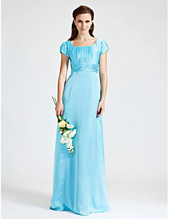 Lanting Sheath/Column Scoop Floor-length Chiffon Stretch Satin Bridesmaid Dress