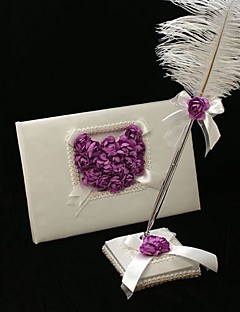 Wedding Guest Book and Feather Pen Set With Lilac Rose Heart Sign In Book