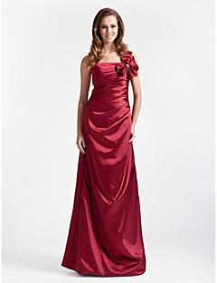 Lanting Bride® Longo Cetim Elástico Vestido de Madrinha - Linha A / Princesa Mula Manca Tamanhos Grandes / Mignon com Laço(s) / Franzido
