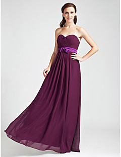 Floor-length Chiffon Bridesmaid Dress - Grape Plus Sizes / Petite Sheath/Column Strapless / Sweetheart