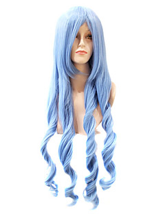 sin tapa adicional de onda larga cuerpo sintético cian partido peluca de pelo