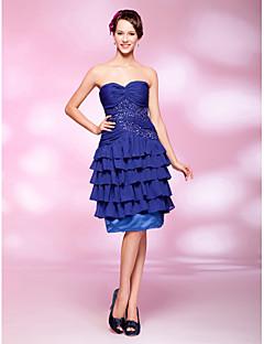 라인 예쁜 무릎 길이 반짝이 쉬폰 칵테일 드레스