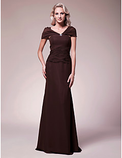 Lanting Sheath/Column V-neck Floor-length Chiffon Mother of the Bride Dress