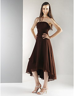 Lanting Tea-length / Asymmetrical Chiffon Bridesmaid Dress - Chocolate Plus Sizes / Petite A-line / Princess Strapless