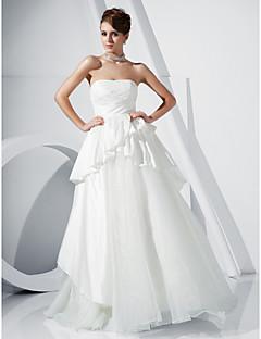 organza balklänning axelbandslös golv längd afton / balklänning inspirerad av Winona Ryder