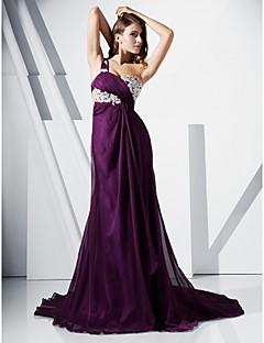Chiffon Trumpet/Mermaid One Shoulder Sweep Train Evening Dress inspired by Kim Kardashian
