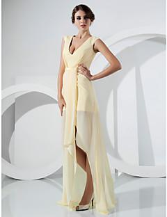 저녁 정장파티 드레스 - 다포딜 시스/컬럼 바닥 길이/비대칭 V넥 쉬폰 플러스 사이즈