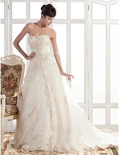 Lanting sposa a-line / principessa petite / taglie wedding vestito-cappella