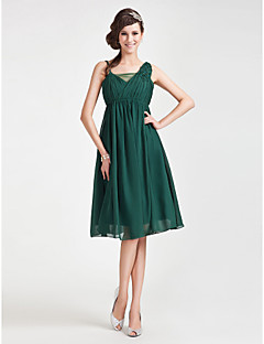 Knee-length Chiffon / Tulle Bridesmaid Dress - Dark Green Plus Sizes / Petite A-line / Princess Straps