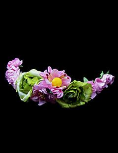 Pink Daisy och grönt ökade blomma flicka krans / huvudstycke