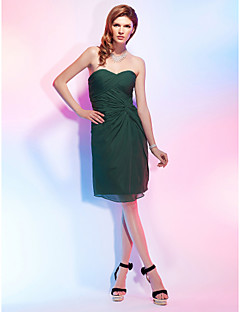 Cocktail Party Dress - Dark Green Plus Sizes Sheath/Column Strapless/Sweetheart Knee-length Chiffon