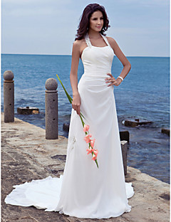 LAN TING BRIDE Sheath / Column Wedding Dress - Chic & Modern Open Back Court Train Halter Chiffon with Appliques
