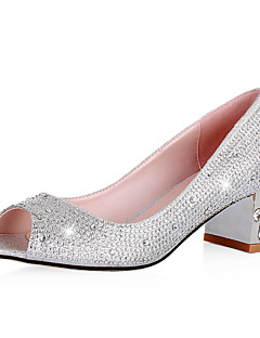 DOLLY - Sapato Dedo Aberto Salto Largo com Glitter Brilhante