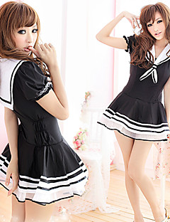 Cosplay Costumes Party Costume Student/School Uniform Career Costumes Festival/Holiday Halloween Costumes White Black Patchwork Dress