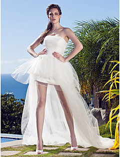 Lan Ting Ball Gown Plus Sizes Wedding Dress - Ivory Asymmetrical Strapless Tulle
