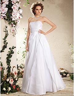 웨딩 드레스 - 화이트 A 라인/프린세스 바닥 길이 튜브탑 태피터 플러스 사이즈