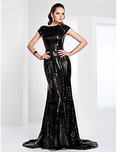 TS Couture® Formal Evening / Military Ball Dress - Black Plus Sizes / Petite Trumpet/Mermaid Bateau Sweep/Brush Train Sequined