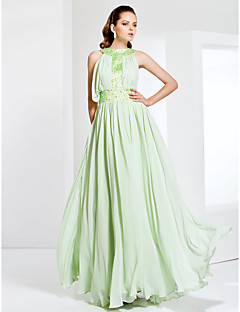 Formal Evening/Prom/Military Ball Dress - Sage Plus Sizes Sheath/Column Jewel Floor-length Chiffon/Stretch Satin