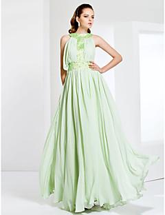 Formal Evening / Prom / Military Ball Dress - Sage Plus Sizes / Petite Sheath/Column Jewel Floor-length Chiffon / Stretch Satin