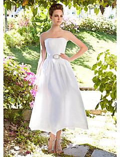 A-line Plus Sizes Wedding Dress - Ivory Ankle-length Strapless Taffeta