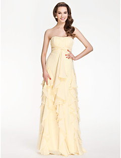 Floor-length Chiffon Bridesmaid Dress - Daffodil Plus Sizes / Petite Sheath/Column Strapless / Sweetheart