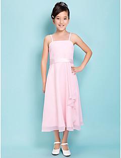 Lanting Bride® Tea-length Satin Chiffon Junior Bridesmaid Dress Sheath / Column Square / Spaghetti Straps Natural withSash / Ribbon /