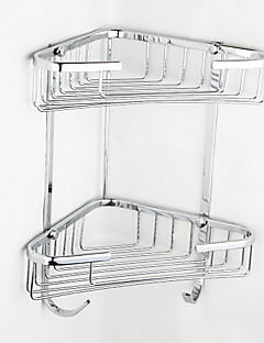 Contemporary Chrome Finish Triangle Double Layer Wall-mounted Soap Basket