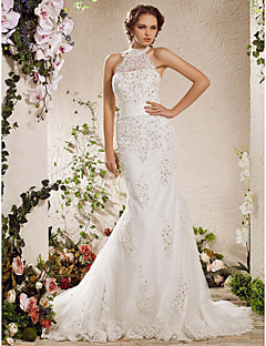LAN TING BRIDE Trumpet / Mermaid Wedding Dress - Elegant & Luxurious Sparkle & Shine Vintage Inspired Court Train High Neck Satin Tulle