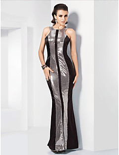 Formal Evening / Military Ball Dress - Plus Size / Petite Trumpet/Mermaid Jewel Floor-length Stretch Satin / Sequined