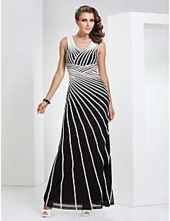 Formal Evening / Military Ball Dress Sheath / Column V-neck Floor-length Tulle / Stretch Satin with Pattern / Print
