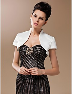 Silk And Spandex Open Front Evening/Wedding Evening Jacket With Short Sleeves Bolero Shrug