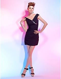 Cocktail Party Dress - Black Plus Sizes Sheath/Column Off-the-shoulder/V-neck Short/Mini Chiffon