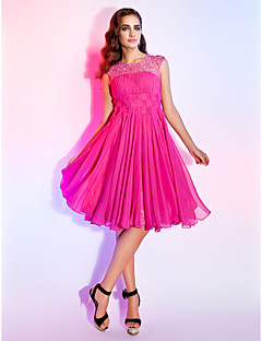TS Couture  Dress - Fuchsia Plus Sizes / Petite A-line / Princess Jewel Knee-length Chiffon