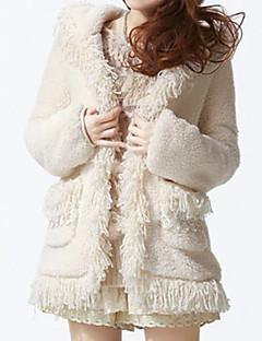 Long Sleeve Office/Career Faux Fur Coat
