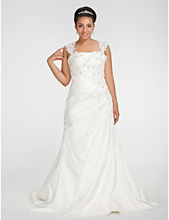 Lanting Bride® Trumpet / Mermaid Petite / Plus Sizes Wedding Dress - Classic & Timeless Fall 2013 Chapel Train Square Chiffon with